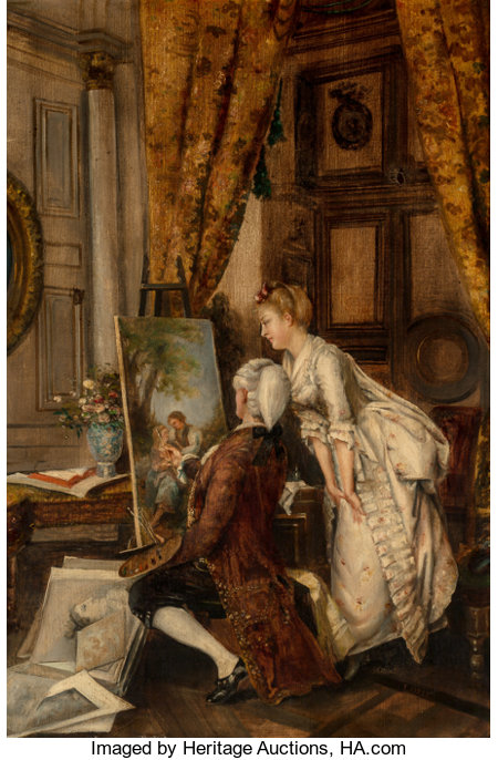 L. Kiesel (French, 19th Century) The Artist's Studio Oil on canvas 31-1/4 x 21 inches (79.4 x 53.3 cm) Signed lower ...