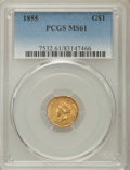 Gold Dollars, 1855 G$1 Type Two MS61 PCGS. PCGS Population: (231/1060). NGCCensus: (580/873). CDN: $1,220 Whsle. Bid for problem-free NG...