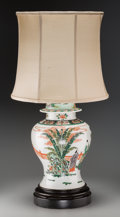 Asian, A Chinese Qing Dynasty Porcelain Ginger Jar Mounted as a TableLamp, early 19th century. 20 h x 10 dia inches (50.8 x 25.4 c...