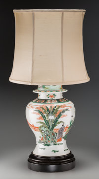 A Chinese Qing Dynasty Porcelain Ginger Jar Mounted as a Table Lamp, early 19th century 20 h x 10 dia inches (50.8