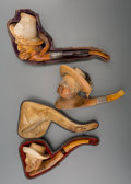 Decorative Arts, Continental, A Group of Three Meerschaum Pipes of Male Busts, late 19th century.8-1/2 inches long (21.6 cm) (longest). ... (Total: 3 Items)