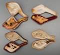 Decorative Arts, Continental, Four Cased Meerschaum Cheroot Pipes, late 19th century. 5-1/2inches long (14.0 cm) (longest). ... (Total: 4 Items)