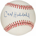 Autographs:Baseballs, Carl Hubbell Single Signed Baseball, PSA/DNA NM+ 7.5. ...