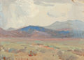 Paintings, Reveau Bassett (American, 1897-1981). Study for 'Thunder Showers, Taos, New Mexico' . Oil on canvas laid on board. 6 x 7...
