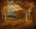 Fine Art - Painting, American, Herman Gustavson (American, 1864-1912). Autumn Trees. Oil onboard. 22 x 25-3/4 inches (55.9 x 65.4 cm). Signed lower ri...