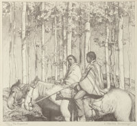 Ernest Martin Hennings (American, 1886-1956) The Hunters, circa 1924-25 Lithograph 9 x 10 inches