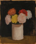 Fine Art - Painting, American, Robert Kulicke (American, 1924-2007). Still Life withZinnias. Oil on Masonite. 11-3/4 x 9-3/4 inches (29.8 x 24.8cm). ...