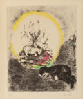 Prints & Multiples, Marc Chagall (French/Russian, 1887-1985). Sacrifice de Noé, circa 1931-39. Etching with hand coloring on Arches. 11-3/4 ...