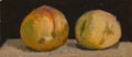 Fine Art - Painting, American:Contemporary   (1950 to present)  , Robert Kulicke (American, 1924-2007). Still life withpeaches. Oil on board. 5 x 9-1/4 inches (12.7 x 23.5 cm).Signed l...