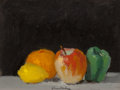 Fine Art - Painting, American:Contemporary   (1950 to present)  , Robert Kulicke (American, 1924-2007). Still Life with Apple,Orange, and Lemon. Oil on board. 8 x 10 inches (20.3 x 25.4...