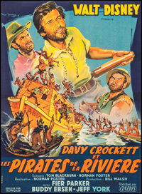 "Davy Crockett and the River Pirates (Cinedis, 1956). French Moyenne (21.75"" X 30""). Adventure"