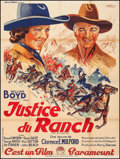 "Movie Posters:Western, Bar 20 Justice (Paramount, 1938). French Grande (47"" X 60.5""). Western.. ..."