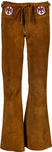 Music Memorabilia:Costumes, Jimi Hendrix Owned and Worn Brown Suede Bell-Bottom Pants (Circa1967-70)....