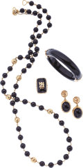 Estate Jewelry:Suites, Black Onyx, Gold Jewelry Suite. ...