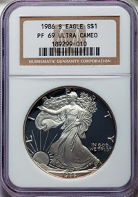 1986-S $1 Silver Eagle PR69 Ultra Cameo NGC. This lot also includes the following: 1987-S $1 Silver Eagle PR69 Ultra Cam...