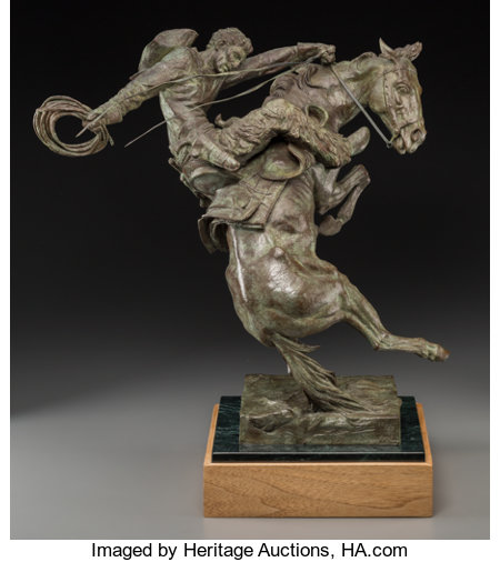 Edward James Fraughton (American, b. 1939) Spirit of Wyoming, 1990 Bronze with light green patina 19 inches (48.3 cm)...