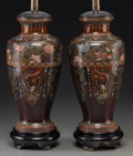 Asian:Chinese, A Pair of Japanese Cloisonné Vases with Dragon and Phoenix MotifsMounted as Lamps, 20th century. 14-5/8 inches high (37.1 c...(Total: 4 Items)