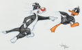 Animation Art:Production Drawing, Virgil Ross - Sylvester and Daffy Duck Illustration (WarnerBrothers, c. 1990s)....