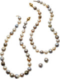 Estate Jewelry:Necklaces, Cultured Pearl, Gold Jewelry Suite. ... (Total: 3 Items)