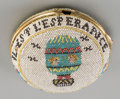 Decorative Arts, French:Other , A French Beaded Pocket Watch Case with Balloon Motif, circa 1790. 2inches high x 2 inches wide (5.1 x 5.1 cm). PROVENANCE...