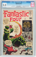 Silver Age (1956-1969):Superhero, Fantastic Four #1 (Marvel, 1961) CGC GD+ 2.5 Off-white to whitepages....