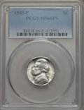 Jefferson Nickels, (3)1943-P 5C MS66 Full Steps PCGS. PCGS Population: 651 in 66 (19 in 66+), 90 finer (4/17).... (Total: 3 coins)