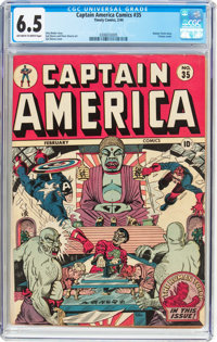 Captain America Comics #35 (Timely, 1944) CGC FN+ 6.5 Off-white to white pages