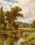 Paintings, Henry H. Parker (British, 1858-1930). The Thames Near Henley. Oil on canvas. 13 x 17 inches (33.0 x 43.2 cm). Signed low...