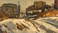 Fine Art - Painting, American, Antonio P. Martino (American, 1902-1988). The Lane. Oil onboard. 12 x 20 inches (30.5 x 50.8 cm). Signed lower left:...