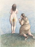 Fine Art - Work on Paper:Drawing, Roland Topor (French, 1938-1997). Le miracle and PassionBrulante (two works), 1973. Ink and colored pencil onp... (Total: 2 Items)