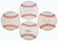 Autographs:Baseballs, Baseball Greats Single Signed Baseball Lot of 4 - Including Sain,Francona, Cone, & Lynn....