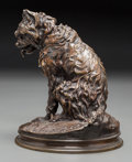 Sculpture, After Pierre Jules Mene (French, 1810-1879), late 19th century. Terrier. Bronze with brown patina. Marks: cast signature...