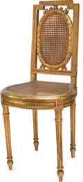Furniture : French, A Louis XVI-Style Giltwood and Caned Side Chair, late 19th-early20th century. 35-1/4 h x 15-3/4 w x 15-1/4 d inches (89.5 x...