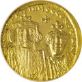 Ancients:Byzantine, Ancients: Constans II. 641-668. AV Solidus (21 mm). Constantinople,654-659. Crowned facing busts of Constans and Constantine IV;cros...
