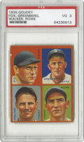 Baseball Cards:Singles (1930-1939), 1935 Goudey Fox, Greenberg, Walker, Rowe PSA VG 3. A great cardfeaturing the Jewish HOF member of the Detroit Tigers Hank ...