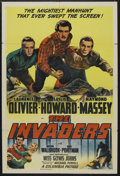 "Movie Posters:War, The Invaders (General Film Distributors, 1942). One Sheet (27"" X41"") Style B. Also released as ""The 49th Parallel."" War. St..."