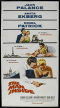 "Movie Posters:Adventure, The Man Inside (Columbia, 1958). Three Sheet (41"" X 81""). CrimeAdventure. Starring Jack Palance, Anita Ekberg, Nigel Patric..."