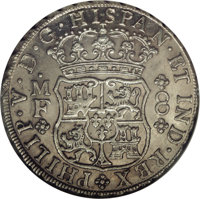 Mexico: Philip V 8 Reales 1741-Mo MF, KM-103, MS64 NGC, a really nice, early piece with silvery luster, quite well balan...