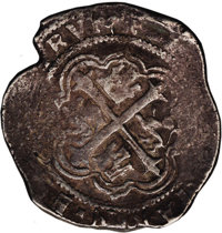 """Mexico: Philip III cob 8 Reales (1598-1621), 9 of date shows for 1609 and """"O"""" of Mo shows, KM-44.3, VF, medium..."""