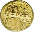 Ancients:Byzantine, Ancients: Constans II. 641-668. AV Solidus (20 mm). Constantinople,654-659. Crowned facing busts of Constans and Constantine IV;cros...