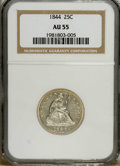 Seated Quarters: , 1844 25C AU55 NGC. NGC Census: (7/39). PCGS Population (4/28).Mintage: 421,200. Numismedia Wsl. Price: $225. (#5406)...