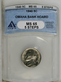 Jefferson Nickels: , 1940 5C MS65 5 Steps ANACS. NGC Census: (3/51). (#74007)...