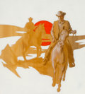 Fine Art - Painting, American:Modern  (1900 1949)  , C. K. Fray (American, 20th Century). Cowboys in the SettingSun. Mixed media on board. 16-1/2 x 15 inches (41.8 x 38.1 c...