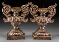 A Pair of Italian Baroque-Style Giltwood Candle Prickets, 19th century 16-5/8 inches high (42.2 cm)