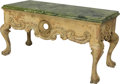 Furniture , An Italian Rococo-Style Carved and Painted Pine Salon Table, mid-20th century. 30 h x 60 w x 26 d inches (76.2 x 152.4 x 66.... (Total: 2 Items)