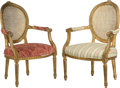 Furniture : French, A Pair of Louis XV-Style Partial Gilt, Caned, and UpholsteredFauteuils, early 20th century and later. 37 h x 24 w x 20 d in...(Total: 2 Items)