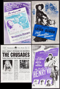 "Movie Posters:Romance, Wuthering Heights & Others Lot (Film Classics, R-1944). Uncut Pressbooks (3) (Multiple Pages, 11"" X 17"") & Pressbook (12 Pag... (Total: 4 Items)"