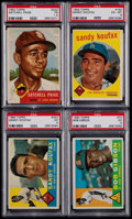 Baseball Cards:Lots, 1953 Topps Satchell Paige, 1959 & 1960 Topps Sandy Koufax, 1960Topps Bob Gibson PSA Graded Quartet (4). ...