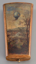Decorative Arts, French:Other , A French Four-Piece Silver, Painted & Inlaid Wood Etui withBalloon Motif, early 19th century. Marks: (boar's head); (eagle'...