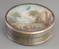 Decorative Arts, French:Other , A French Snuffbox with Miniature Balloon-Related Watercolor, late18th-early 19th century. 1 inch high x 3 inches diameter (...